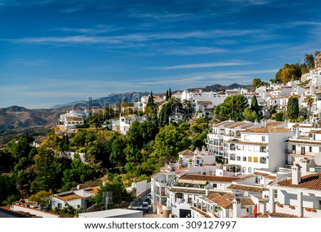 Charming little white village of Mijas. Costa del Sol, Andalusia. Spain - stock photo
