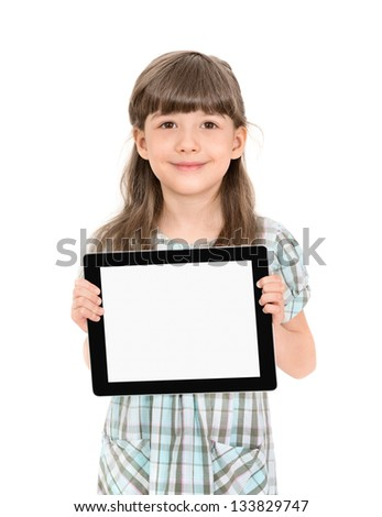 Charming pretty little girl holding up a modern digital tablet in her hands with the blank white screen. Isolated on white. - stock photo