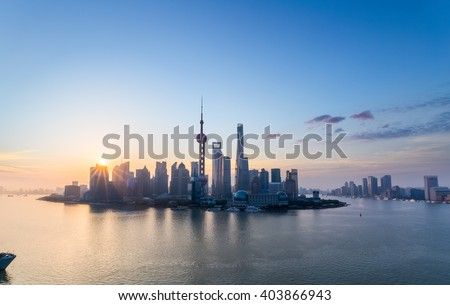 charming shanghai in sunrise, pudong skyline and huangpu river, China. - stock photo
