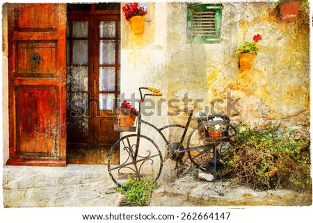 charming street in Valdemossa village with old bike - stock photo