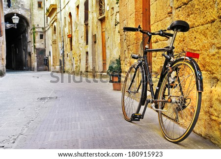 charming streets of old  Tuscany, Italy - stock photo