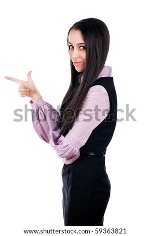 charming young business woman isolated on white - stock photo