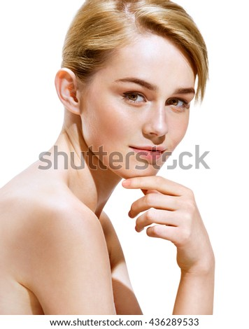 Charming young fashion model, isolated on white background. Youth and skin care concept - stock photo