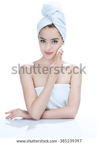 Charming young fashion model / photo attractive of girl - isolated on white background - stock photo