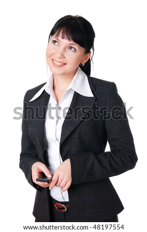 charming young woman in a dark business suit - stock photo