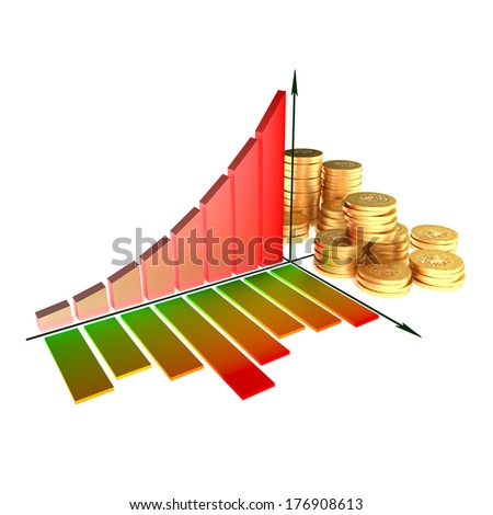 Chart and golden coins - stock photo