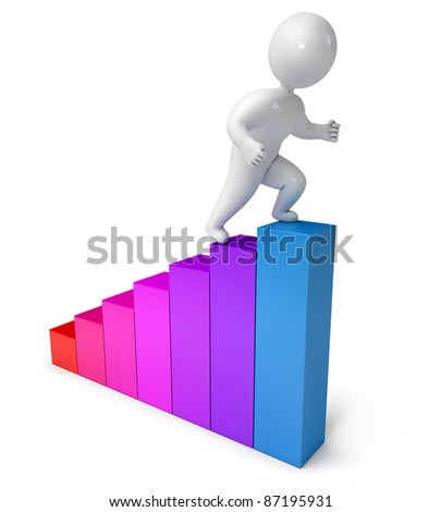 chart climbing people 3d render - stock photo