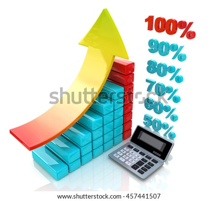Chart economic profit when you make a design-related business and finance. 3d illustration - stock photo