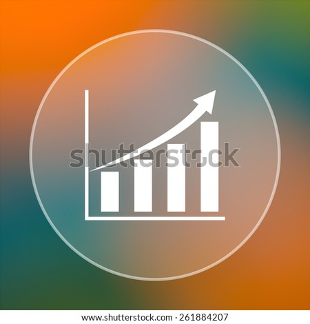 Chart icon. Internet button on colored  background.  - stock photo
