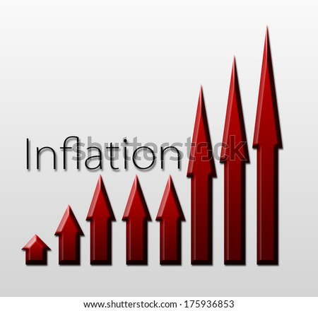 Chart illustrating inflation growth, macroeconomic indicator concept - stock photo