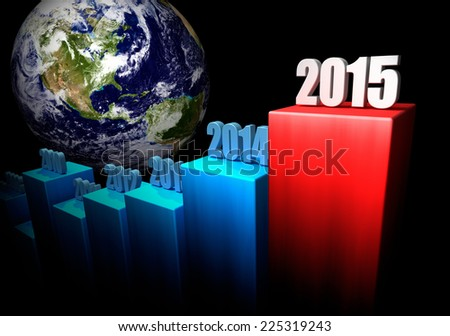 Chart of the global gains in 2015. North America in the background. 3d render. Elements of this image furnished by NASA - stock photo