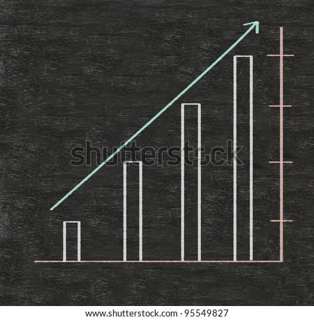 chart up on blackboard - stock photo