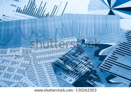 Charts and lists for financial analysis - stock photo