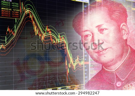 Charts of financial instruments including various type of indicator for technical analysis on the monitor of a computer, together with face of Mao Zedong on RMB (Yuan) 100 bill - stock photo