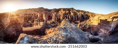 Charyn grand canyon at sunrise in Kazakhstan - stock photo