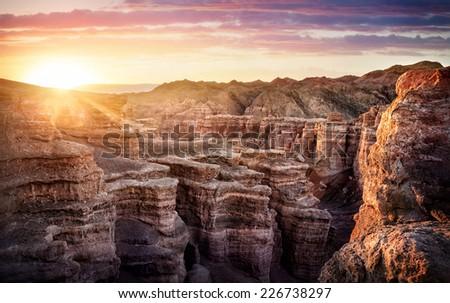 Charyn grand canyon at surise in Kazakhstan - stock photo