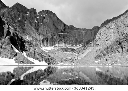 Chasm Lake and The Diamond East Face of Longs Peak, Rocky Mountain National Park, Colorado - stock photo