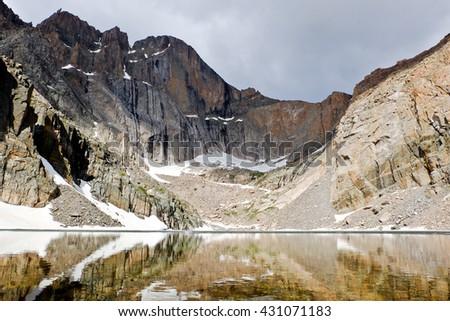Chasm Lake Below The Diamond Face of Longs Peak. Rocky Mountain National Park, Colorado. - stock photo