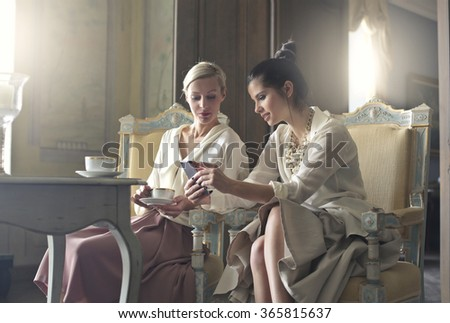 Chat between old friends - stock photo