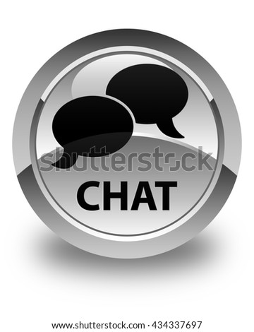 Chat glossy white round button - stock photo