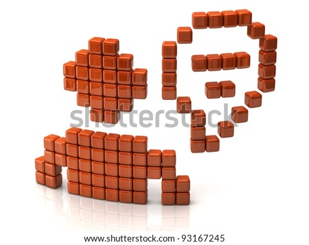 Chat icon made of orange cubes - stock photo