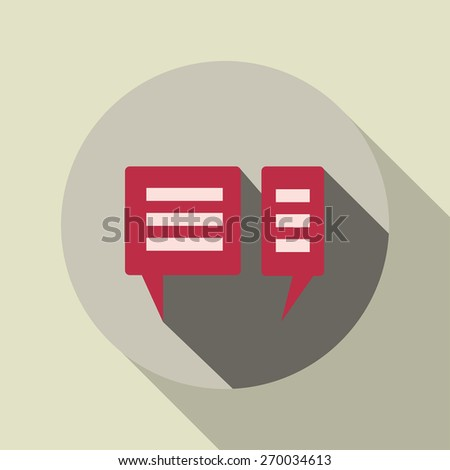 Chat Icon with long shadow - stock photo