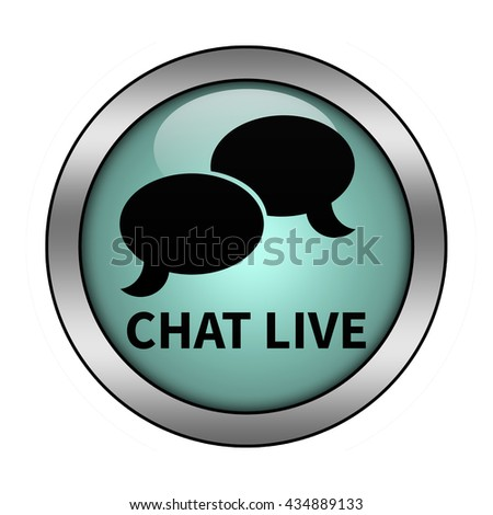 Chat live glossy round button - stock photo