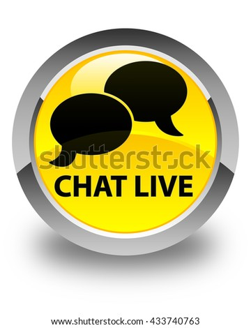 Chat live glossy yellow round button - stock photo