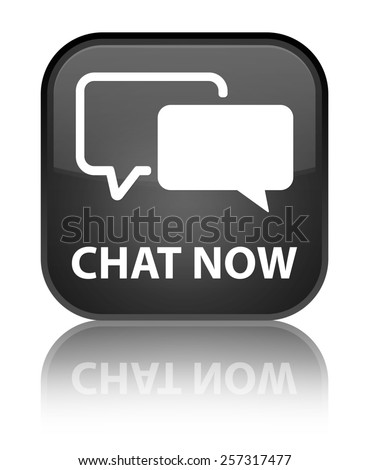 Chat now black square button - stock photo