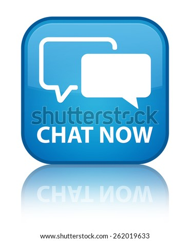 Chat now cyan blue square button - stock photo