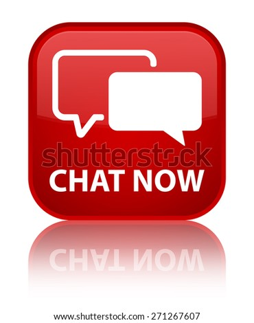 Chat now red square button - stock photo