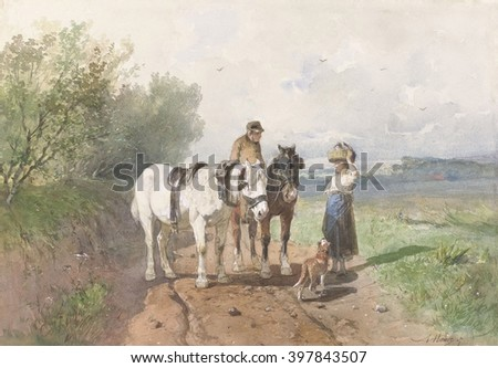 Chat on a Country Road, by Anton Mauve, c. 1860-80, Dutch watercolor painting. On a country road, a man on horseback talks with a young woman balancing a basket on her head - stock photo