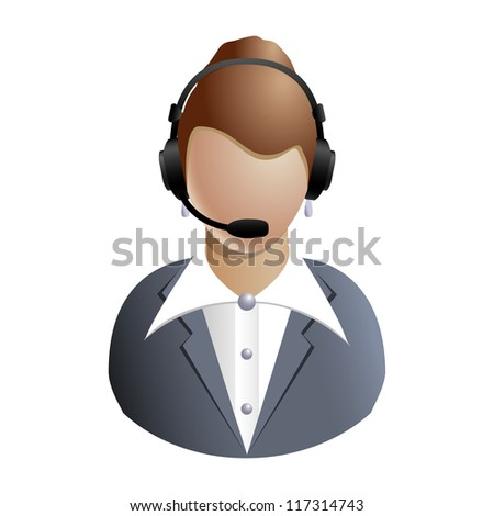 Chat or customer service operator - icon isolated on white background - stock photo