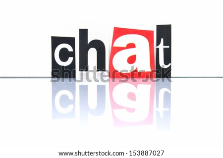 Chat with newspaper letters - stock photo