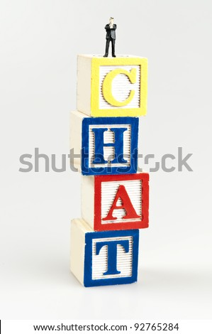 Chat word and toy business man - stock photo