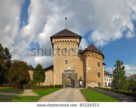 Chateau and museum in Velke Mezirici,  Czech republic. Among the exhibits as a bed where he slept Emperor Franz Joseph I, or a mourning necklace Maria Theresa. - stock photo