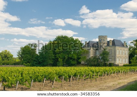 Chateau and vineyard in Margaux, Bordeaux, France - stock photo