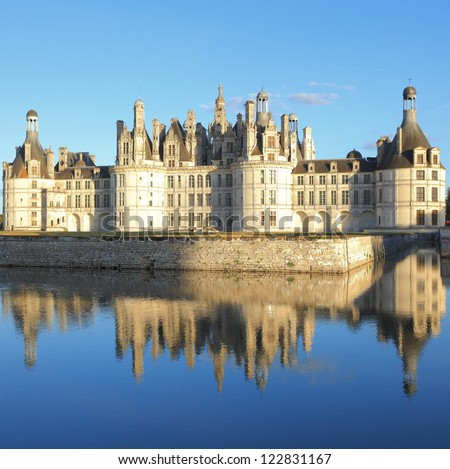 Chateau Chambord and reflection - stock photo