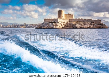 Chateau d'If, Marseille, France, colorful seascape  - stock photo