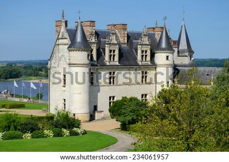 Chateau de Amboise medieval castle, Leonardo Da Vinci tomb. Loire Valley, France, Europe. - stock photo