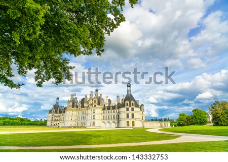Chateau de Chambord, royal medieval french castle and tree. Loire Valley, France, Europe. Unesco heritage site. - stock photo