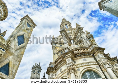 Chateau de Chambord, royal medieval french castle. Loire Valley, France, Europe. Unesco World heritage site.  - stock photo
