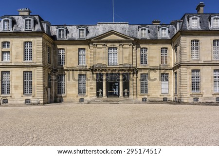 Chateau de Champs-sur-Marne, built in 1699 - 1707 by Jean-Baptiste Bullet de Chamblain, is a superb example of Classical architecture. Champs-sur-Marne - French town in historic province of Brie. - stock photo