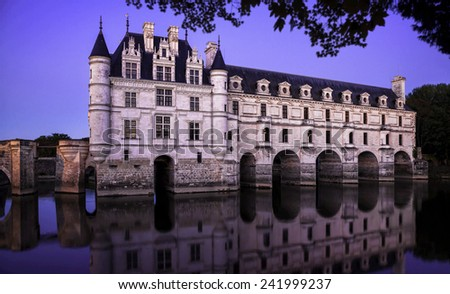 Chateau de Chenonceau. France. Chateau of the Loire Valley. - stock photo