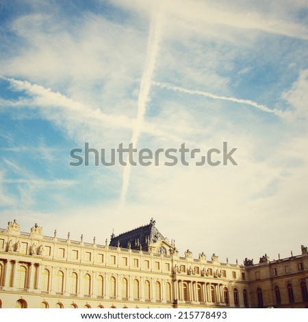 Chateau de Versailles and sky with retro instagram filter effect  - stock photo