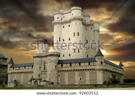 Chateau de Vincennes, castle outside Paris, France - stock photo