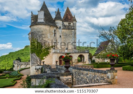 Chateau des milandes who belong to josephine baker in dordogne perigord France - stock photo