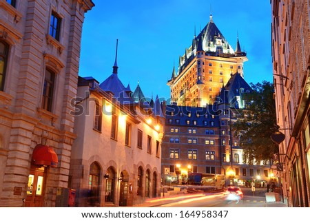Chateau Frontenac at dusk in Quebec City with street - stock photo