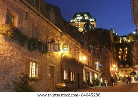 Chateau Frontenac at dusk in summer, Quebec City - stock photo