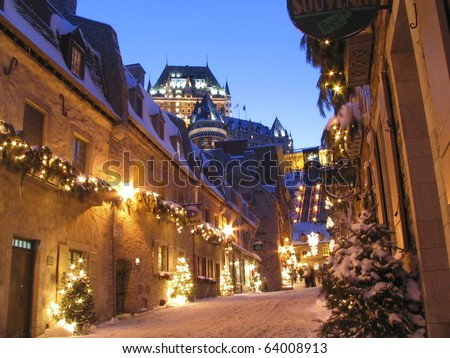 Chateau Frontenac at dusk in winter - stock photo